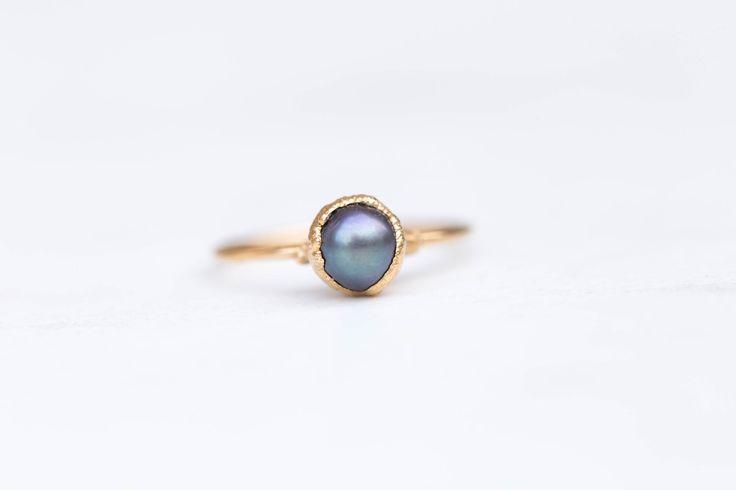 Boho Black Pearl Ring, Dainty Boho Ring, Gold Black Pearl Ring, Thin Raw Ring, Raw Pearl Ring, Black Pearl Stacking Ring, Dainty Pearl Ring by Ringcrush on Etsy https://www.etsy.com/listing/480490354/boho-black-pearl-ring-dainty-boho-ring