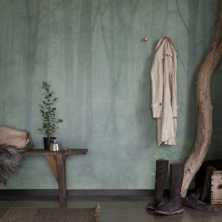 Skog Wall Mural  - Green  wallpaper, from the Skog collection by Sandberg
