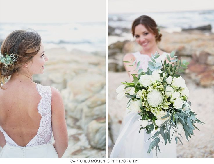 A beautiful beach setting with a beautiful couple and the most spectacular white king protea bouquet
