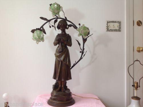 Antique Art Nouveau Deco Bronze Spelter French Figural Newel Post Lamp RANIERI in Antiques, Decorative Arts, Lamps | eBay