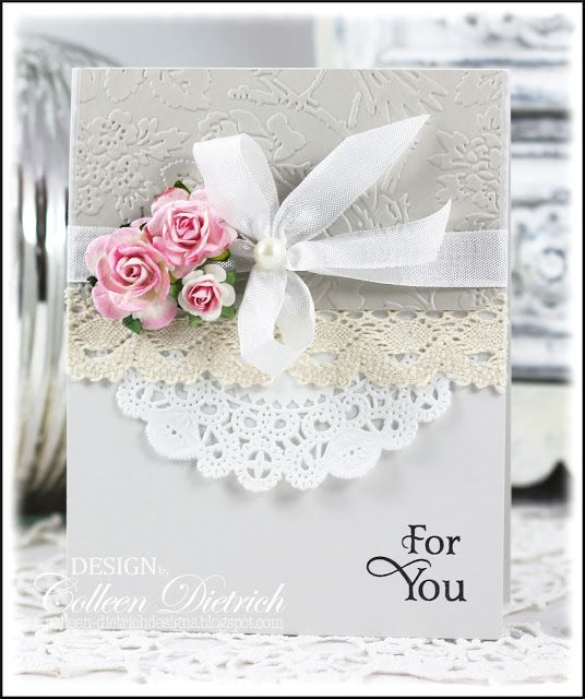 Pink roses for you card, with Inspired By Stamping sentiment, lace and flowers.