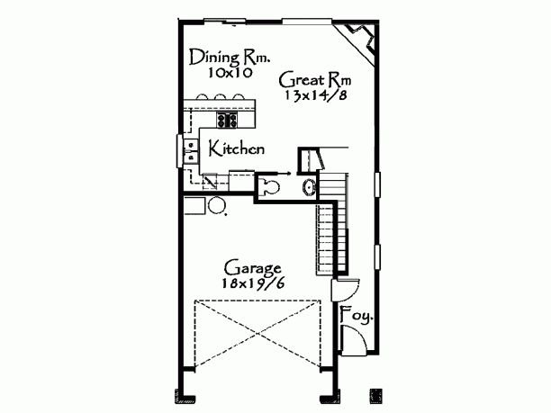 1730 Sqft Only 25' wide, open concept, small master bath, garage.