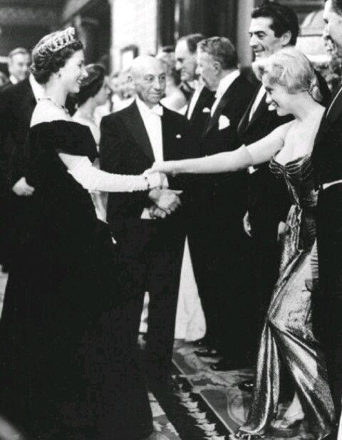 Queen Elizabeth 2 and Marilyn Monroe 1956