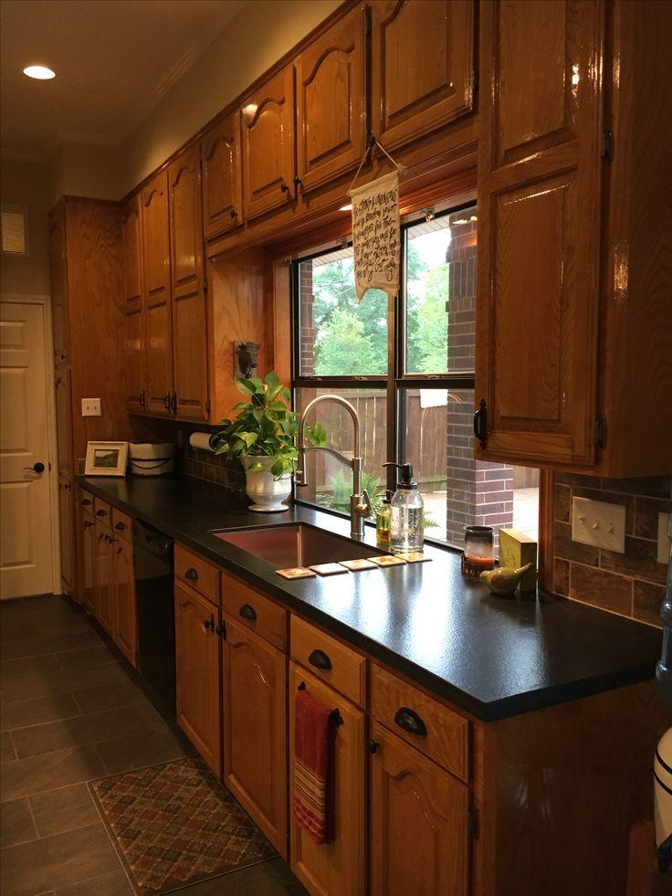 Best Updated Kitchen With New White Island Original Honey Oak 400 x 300