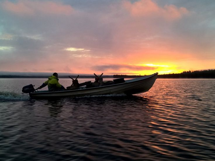 Fisherman's boat in Lake Miekojarvi in Pello in Lapland and midnight sun.