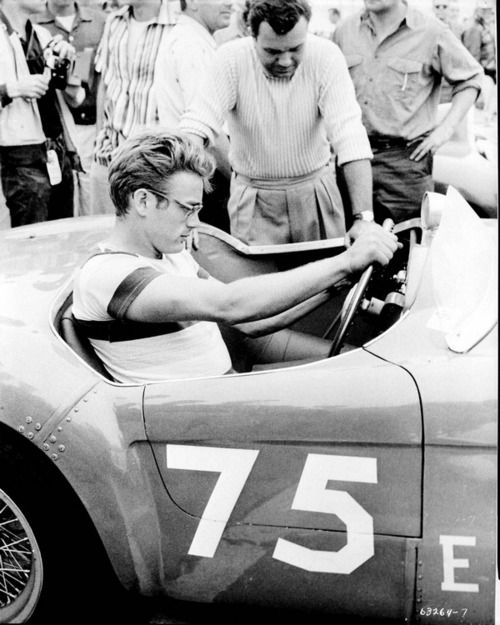James Dean in a race car. #vintage