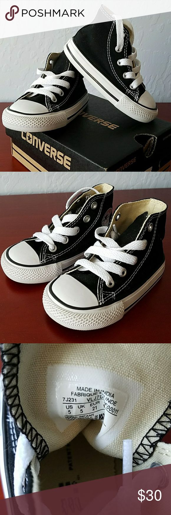 New toddler converse NIB classic black and white chucks for toddlers. My little guy outgrew these before he could wear them  Size 5 *Firm on Price No offers please Converse Shoes Sneakers