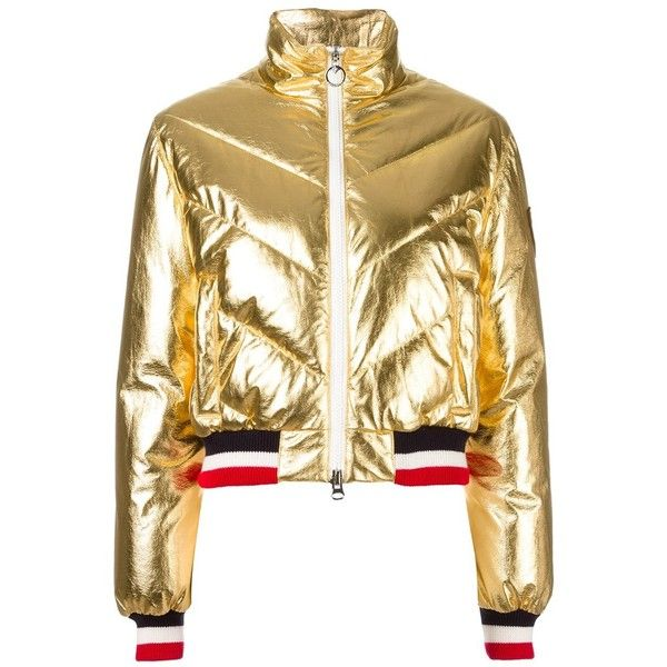Rossignol metallic padded jacket ($775) ❤ liked on Polyvore featuring outerwear, jackets, grey, feather jackets, padded jacket, rossignol, rossignol jacket and metallic jacket