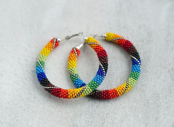 Rainbow Hoops Chunky Hoop Earrings Patchwork Earrings