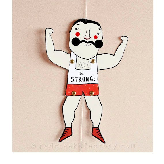 DIY Muscle Man Paper Doll - DIY postcard - paper puppet - strong man - moustache - power greeting card - circus postcard - now also in english!