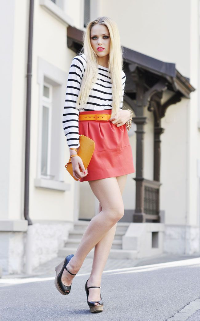 brightly colored skirt with striped top