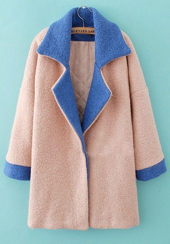 Light Pink Plain Long Sleeve Wool Padded Coat