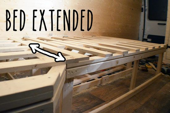 extending bed with storage for camper