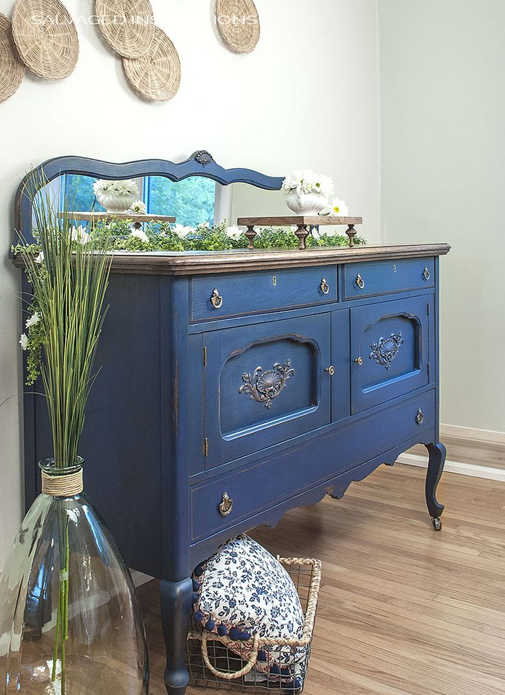 Bunker Hill Blue Painted by Salvaged Inspirations | 3 Dixie Belle Paint Packages for GIVEAWAY on the SI Blog!