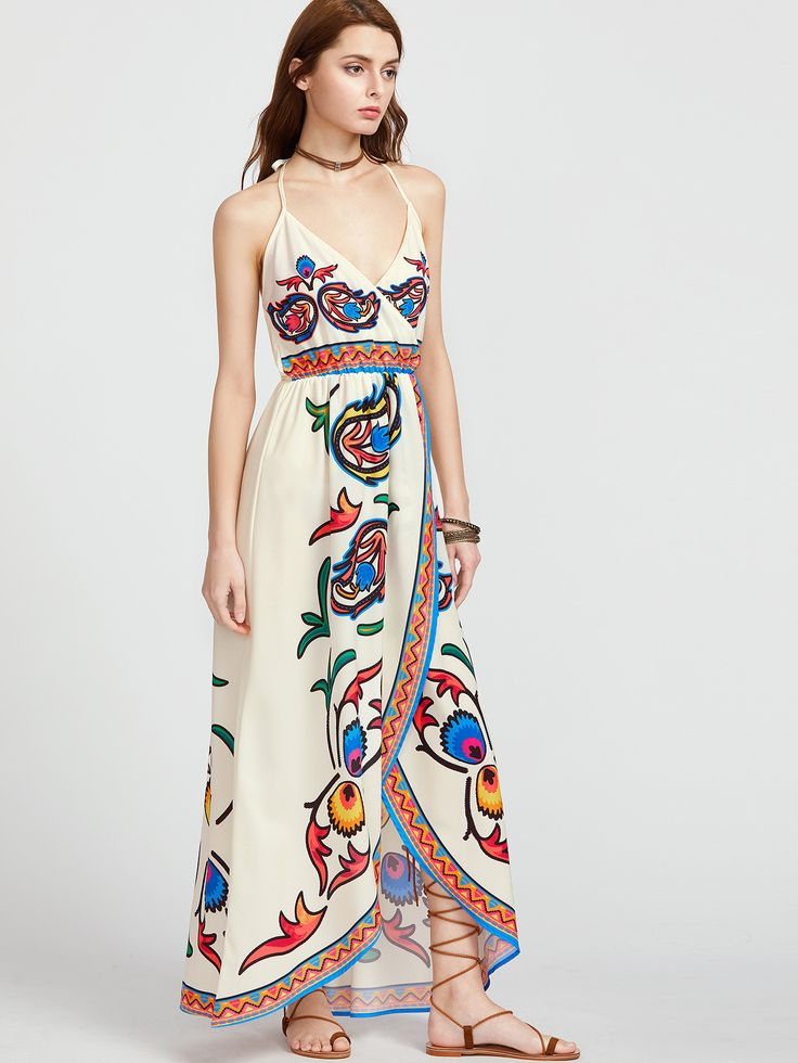 Apricot Printed Elastic Waist V-Neck Maxi Dress