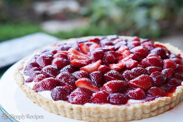 Strawberry Mascarpone Tart ~ Tart with fresh strawberries, macerated in sugar, over a creamy mascarpone base and brushed with a balsamic glaze. ~ SimplyRecipes.com