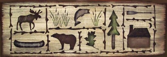 Cabin Sampler Lodge Bear Moose Fish Rustic Primitive Country Sign Home Decor #RusticPrimitive