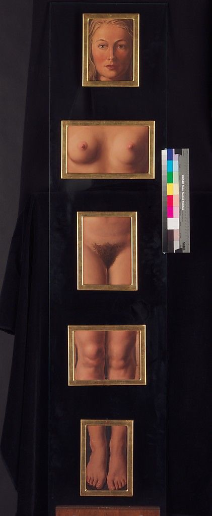 This work is a variant of the artist's famous 1930 prototype of the same title, for which his wife, Georgette, posed. The notoriety achieved by the earlier version coincided with its role in the cult of the Surrealist object in the 1930s.The artist challenges the viewer's perception by assembling the works in a way that allows us to visualize the omitted body parts.