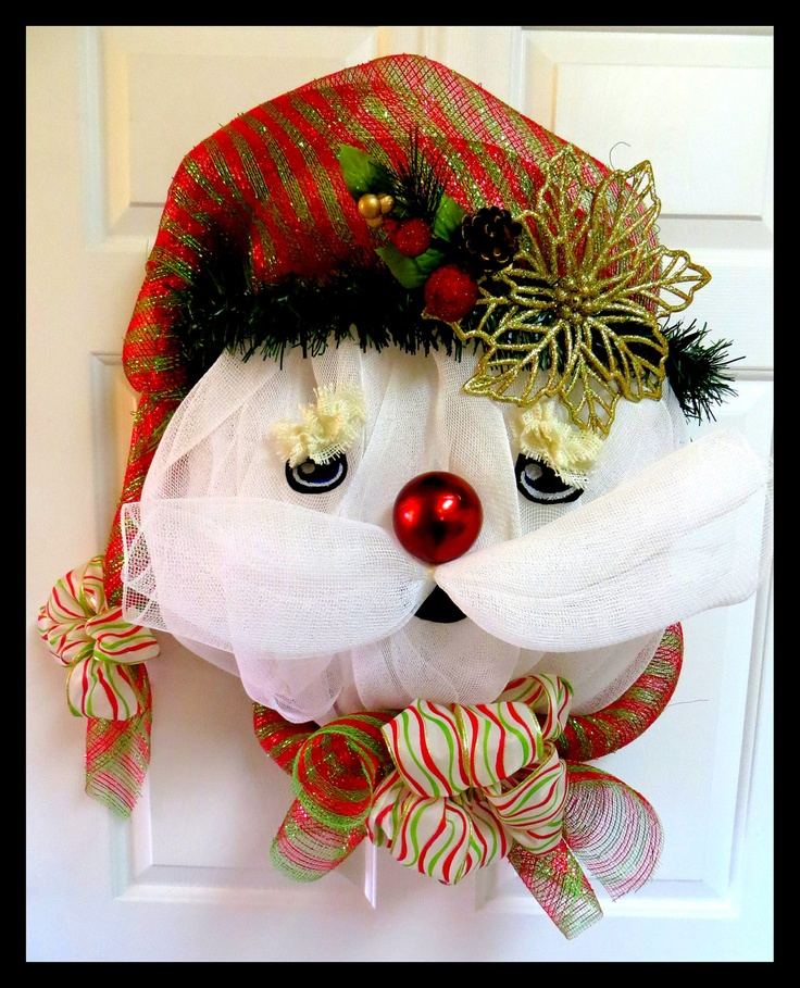 Whimsical+Santa+Snowman+Poly+Deco+Mesh+Indoor+by+WindyWillowDesign,+$65.00
