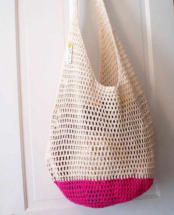 Beach Bag Crochet : Crochet Beach Bag in Your Color Choice Hot Pink Lime by KnellyBean, $ ...