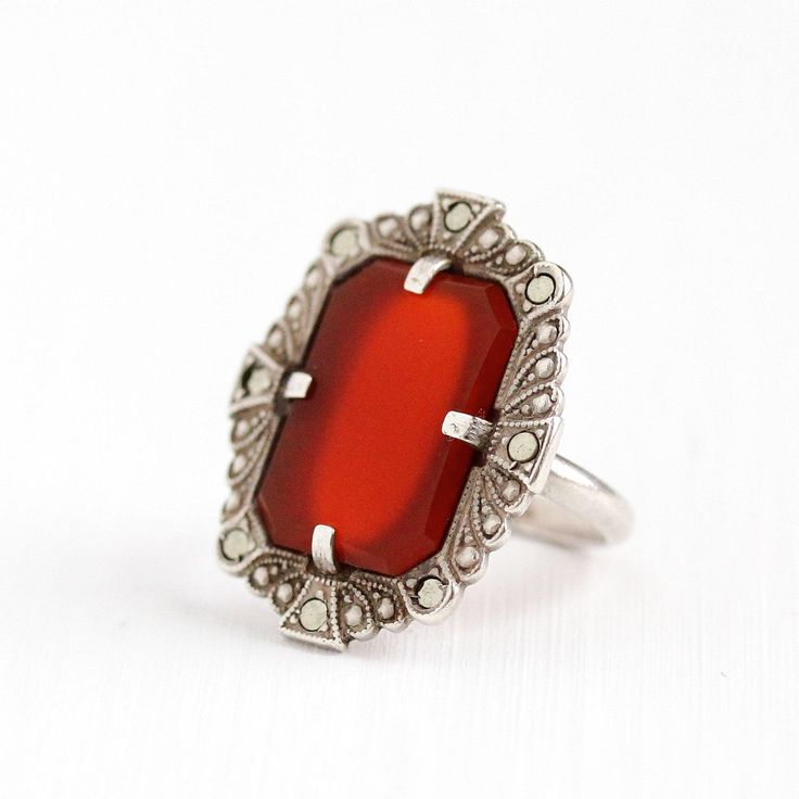 Sale - Vintage Art Deco Sterling Silver Carnelian & Marcasite Ring - 1930s Size 4 3/4 Statement Red Gem Shield Filigree Embossed Jewelry by MaejeanVintage on Etsy https://www.etsy.com/listing/232449999/sale-vintage-art-deco-sterling-silver