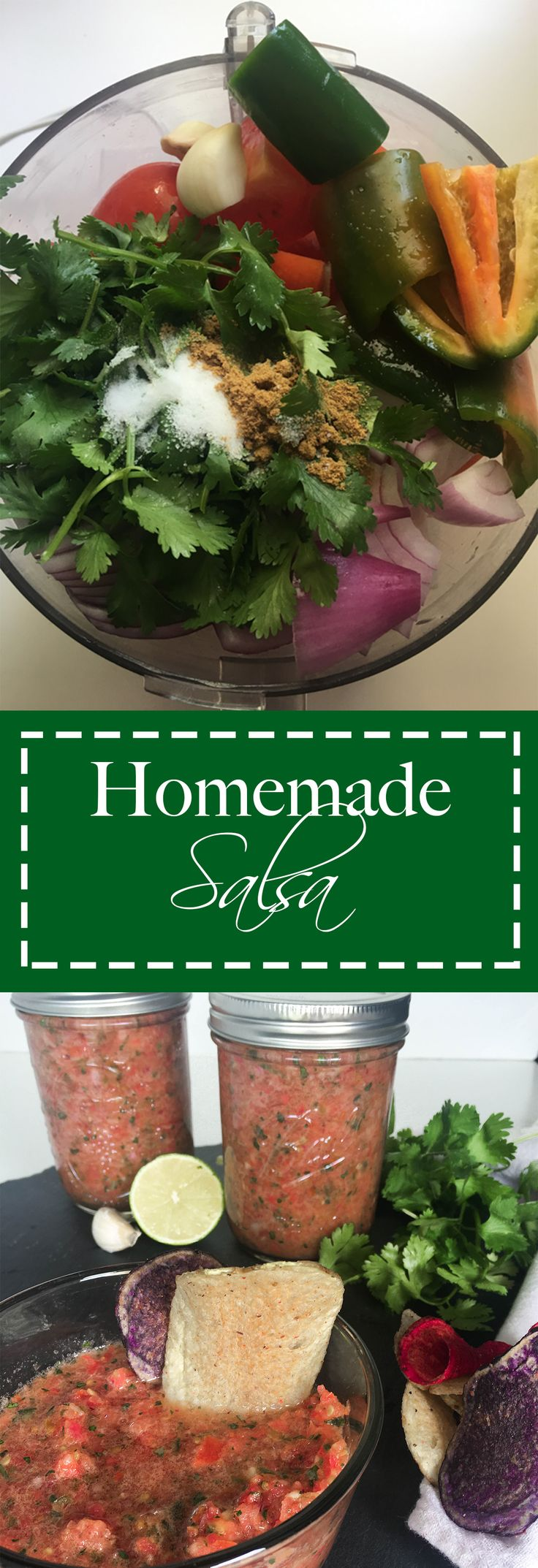 This garden fresh salsa is more easy to make than you think! Fresh, simple ingredients and less than 5 minutes to make.