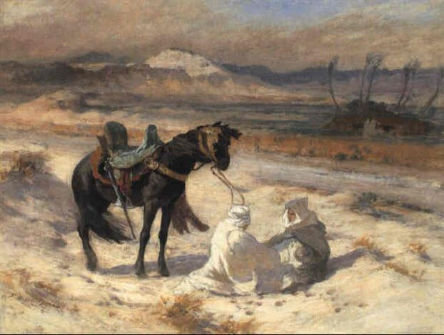 Peinture Algérie - Frederick Arthur Bridgman - The Desert Winds (Simoon)