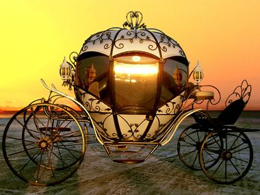 Cinderella Carriage with glass -   This is a luxery Item - This model can be ordered universal, on wheels and sledges - ready for all seasons. For cold climates, it can be ordered equipped with optional heater  |    Wheel Carriages - Model Cinderella