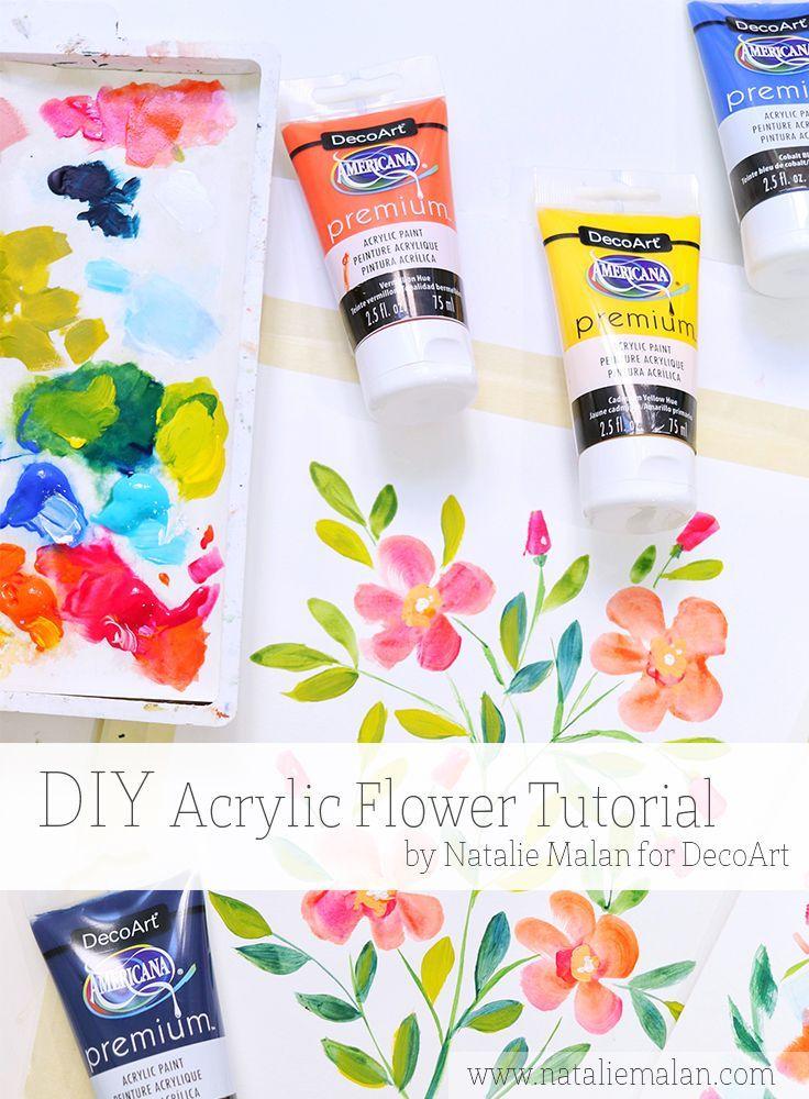 Diy Acrylic Flower Painting Tutorial Like Watercolor You Tube