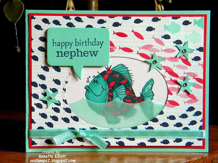 """Stampin' Up! ...handmade card frommAEstamps a Latte ... fish theme ... great background paper with lots of little fish ... oval window with a fantasy fish .... luv the aqua vellum """"wavy sea"""" covering the bottom part .... great design ..."""