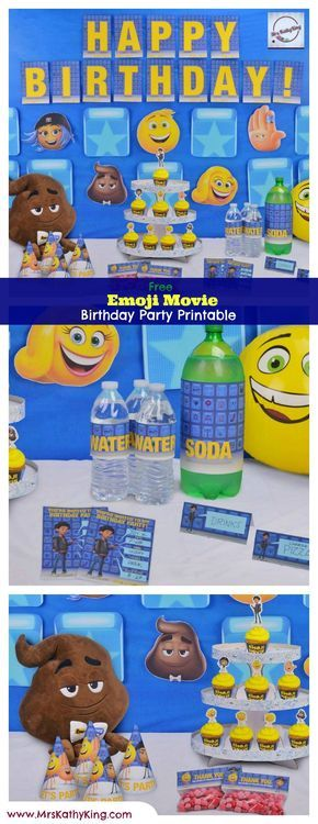 Are you planning an Emoji Themed Birthday Party? Then you will love our free Printable Emoji Movie Party Decorations. It includes Printable Emoji Movie Invitation, Emoji Movie Happy Birthday Banner, Emoji Movie Cupcake Wrapper & Toppers, Emoji Movie Goodie Bag Toppers, Emoji Movie Water Bottle Wrapper, Emoji Movie Soda Bottle Wrappers, Emoji Movie Party Hat, Emoji Movie Welcome Signs, Emoji Movie Character Food Tent Set