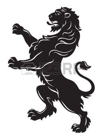 лев: Геральдический лев рыкающий черный на белом фоне Иллюстрация