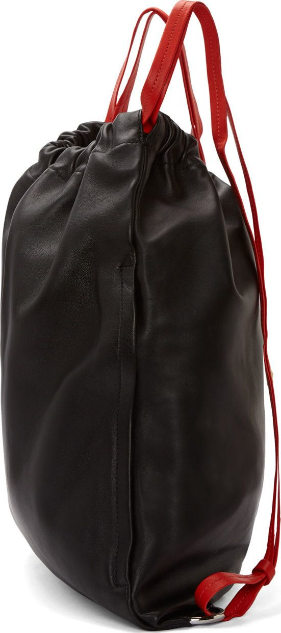 Alexander Wang: Black & Red Leather Gym Bag Backpack | SSENSE