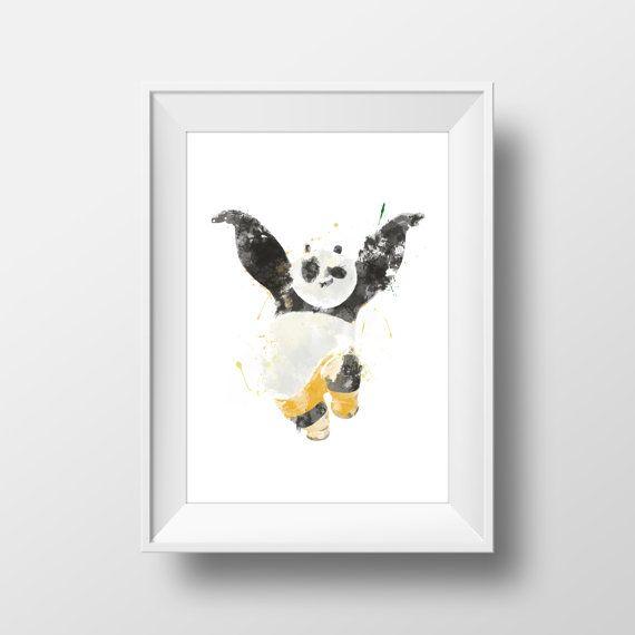Wall Art Watercolor Disney Kung Fu Panda от CozyHomePrints на Etsy