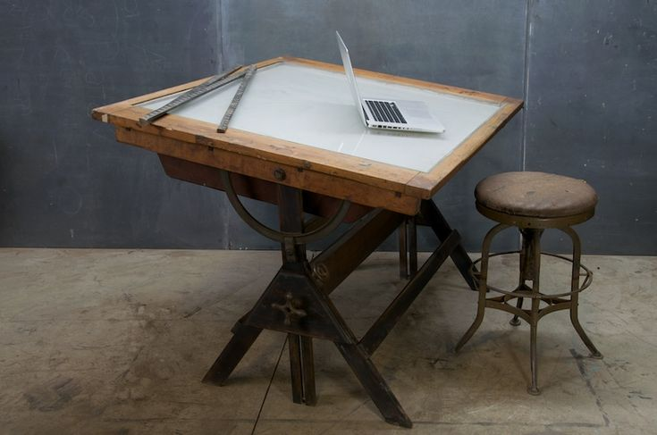 1920s Industrial Oak Iron Drafting Table 20th Century