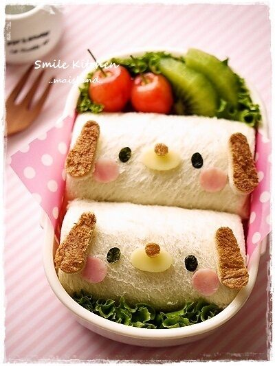 Dog roll sandwich bento Very kawaii!  Visit japan-marche.com to find traditional and designed, quality Japanese items for your home and interior!