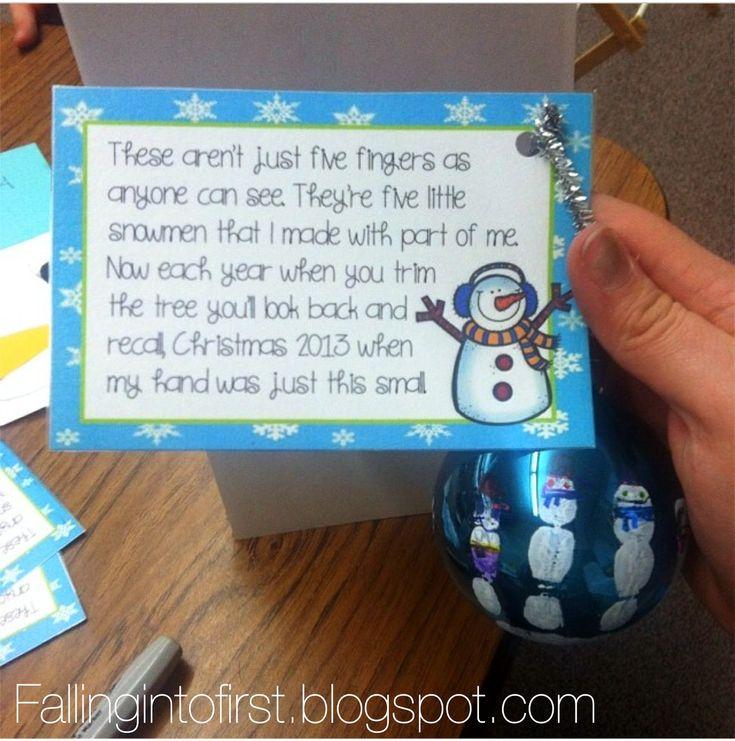 Five Little Snowmen Handprint ornament (love her drying rack idea)