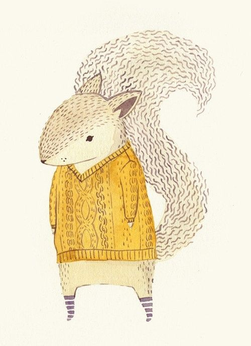 Squirrel in a sweater by Teagan White