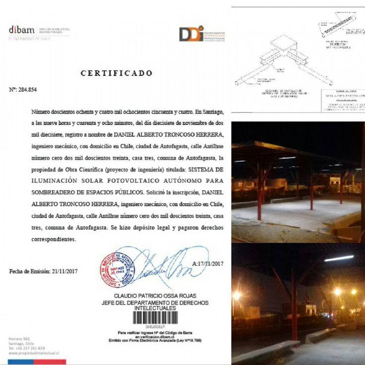 Hay esta.... mi primer registro de propiedad intelectual sobre una obra científica (proyecto de ingeniería)... de uno de mis sistemas de iluminación LED solar  para espacios públicos... #propiedadintelectual #innovación #solarenergy #led #iluminacion #espaciopublico #antofagasta #chile #atacamadesert