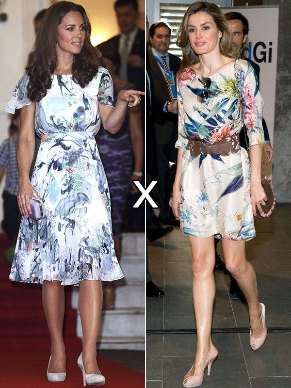 Apesar da estampa floral similar, o efeito dos looks de Kate e Letizia é completamente diferente: enquanto a modelagem solta e mais comprida usada pela britânica, dá um ar antiquado ao modelito da grife Erdem, o vestido mais curtinho e ajustado da Zara usado pela espanhola a rejuvenesce.