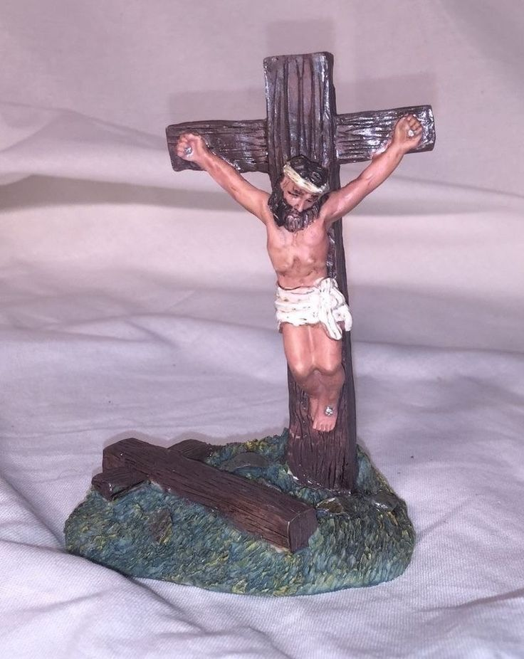 JESUS CHRIST on CROSS -  FIGURINE STATUE - Religious Decor - Jesus