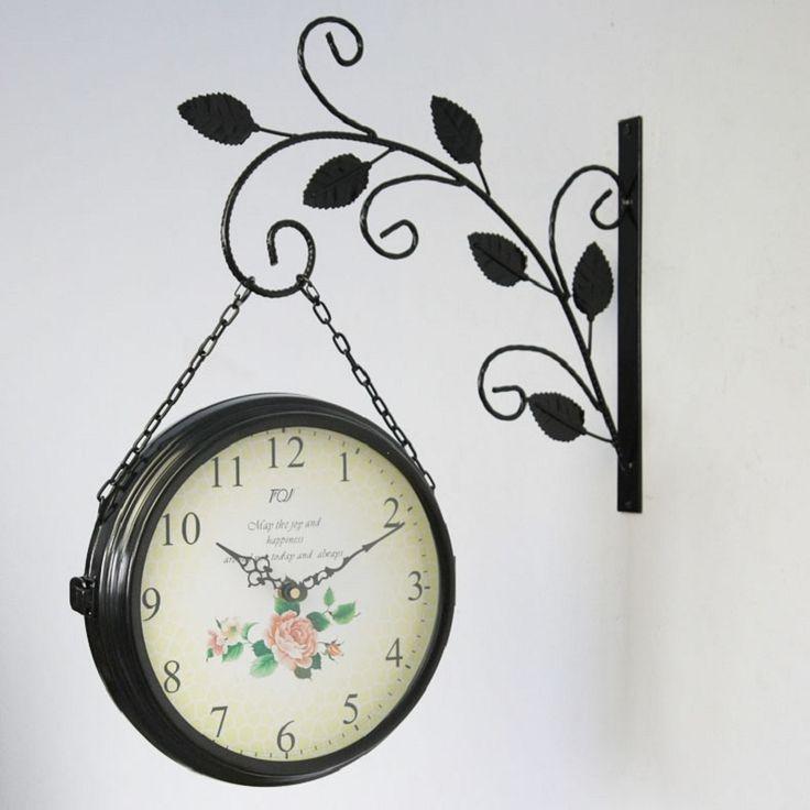 Barato 2016 Relógio de Parede de Ferro Forjado Relógio de Dupla Face Relógios de Parede Da Cozinha Do Vintage Grandes Relógios Digitais Reloj Pared Klok Duvar Saati, Compro Qualidade Roteadores instalados diretamente de fornecedores da China: 2016 Relógio de Parede de Ferro Forjado Relógio de Dupla Face Relógios de Parede Da Cozinha Do Vintage Grandes Relógios Digitais Reloj Pared Klok Duvar Saati