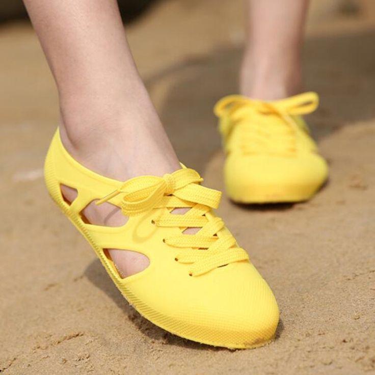 Women Jelly Sandals in Women's Shoes Plastic Candy Color Shallow Shoes Flats Hollow out  Rubber Femme Sandalia Plus Size 36-40