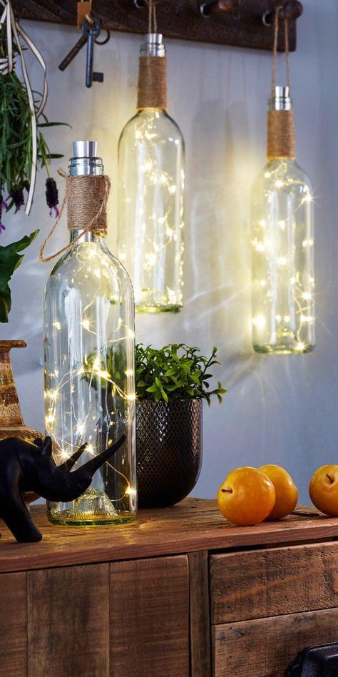 led deko weinflasche mit h bschem lichteffekt ideen pinterest dekoration dekor und deko. Black Bedroom Furniture Sets. Home Design Ideas