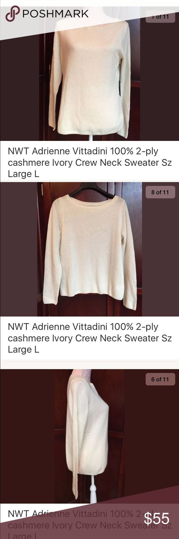 100% 2ply cashmere cream long sleeve top sz large 100% 2-Ply cashmere sweater, ivory/cream, long sleeve, thin sweater, crew neck Condition: NWT Measurements: womens size Large, shoulder across 15, sleeve 35, chest across 20.5, waist across 20, length 22.5 Adrienne Vittadini Sweaters Crew & Scoop Necks