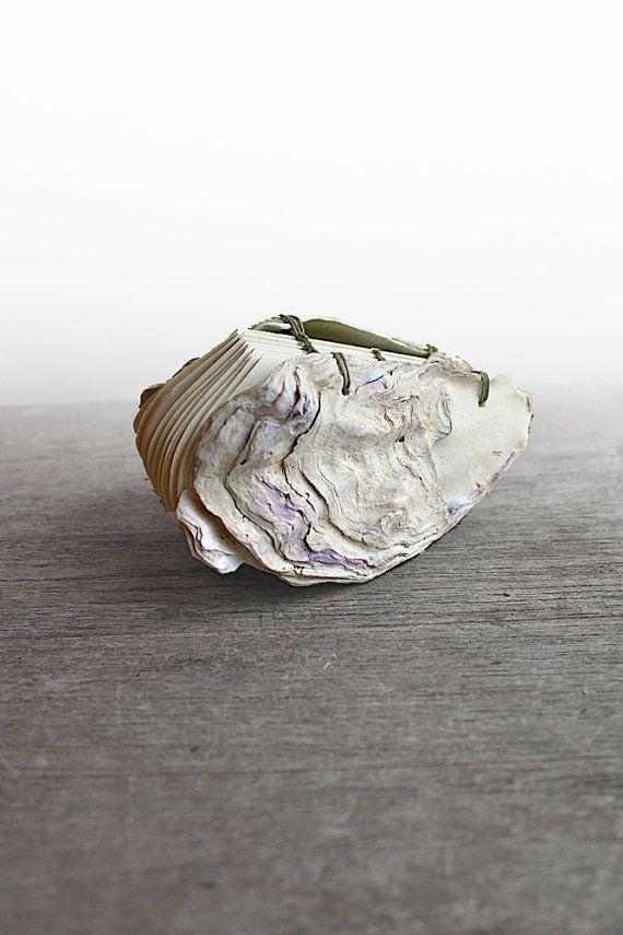 Oyster No 2  Handstitched Oyster Book Sculpture by odelae on Etsy