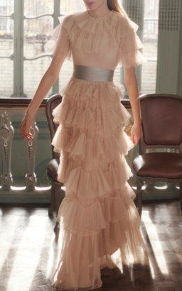 Scallop Tulle Ruffle Gown by Needle & Thread