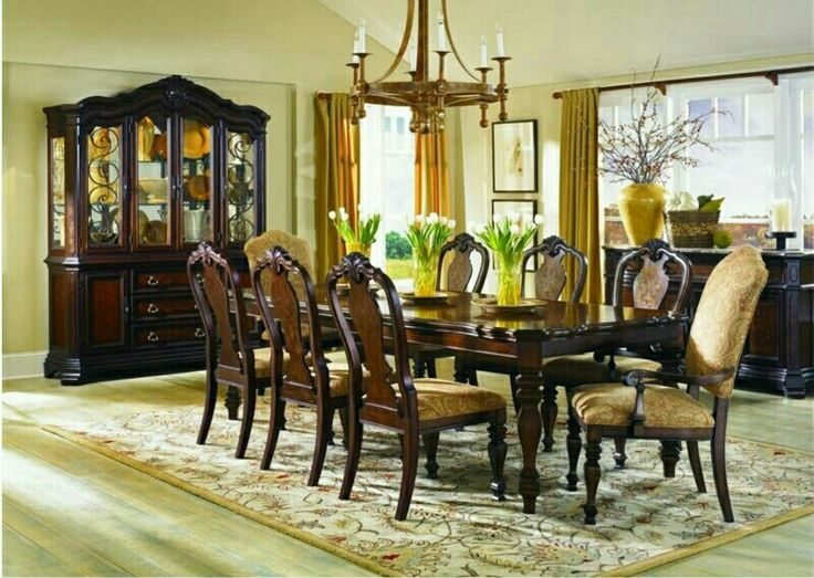 Legacy Classic Furniture Royal Traditions Rectangular Leg 9 Piece Dining Table Set In Distressed Chestnut