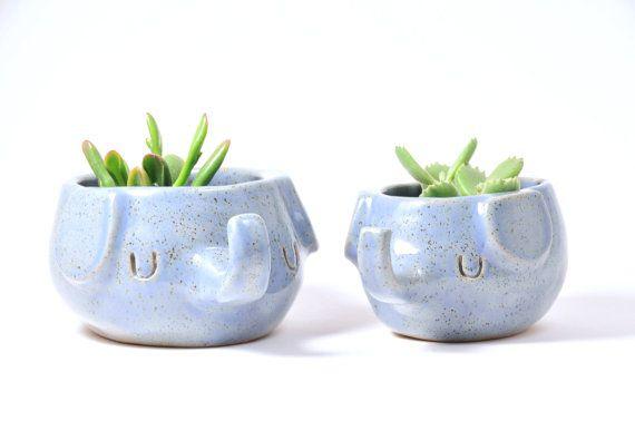 Periwinkle Blue Elephant Planter, Small Ceramic Elephant Plant Pot, Stoneware…