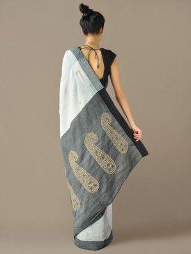Ivory & Black Border Kairi Pallu Handloom Cotton Saree